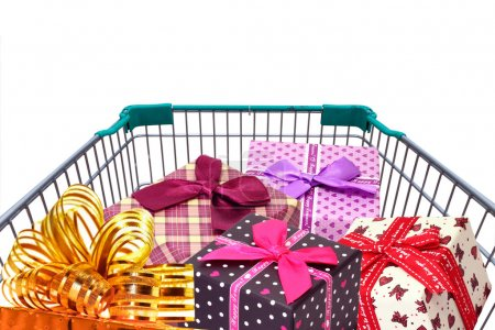 Photo for Presents ribbon and gift box in shopping trolley cart isolated on white background - Royalty Free Image