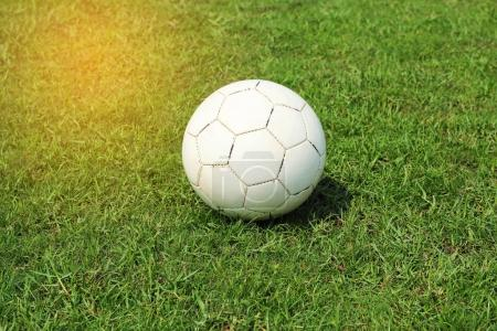 Old white soccer football on grass field