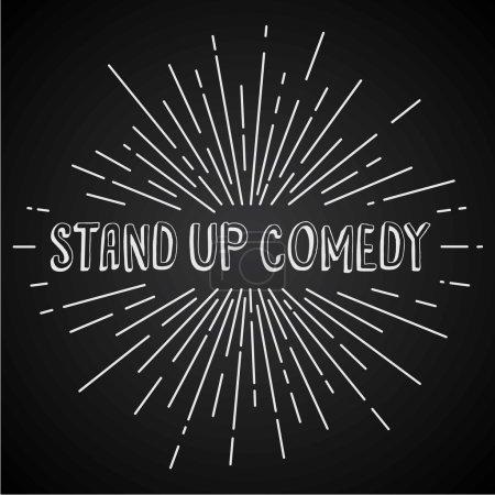 Illustration pour Stand up spectacle de texte comique avec des rayons, illustration vectorielle - image libre de droit