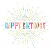 Happy birthday greetings with colorful rays vector illustration