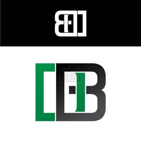 initial letter logo green black