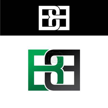 Illustration pour Lettre initiale liée superposée majuscule logo vert noir bb - image libre de droit