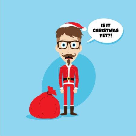Illustration pour Santa Claus pose émotion et dire Est-ce Noël encore, illustration vectorielle - image libre de droit