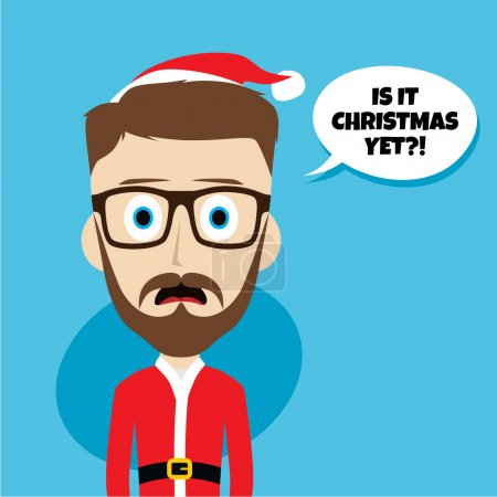 Illustration for Santa claus poses emotion and saying Is it Christmas yet, vector illustration - Royalty Free Image