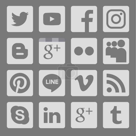 Phitsanulok, Thailand - January 17, 2017 : Vector set of popular social media icon on gray background .