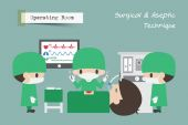Operating Room ( OR )  Surgeon  Assistant and Anaesthetist operate on patient  Vector