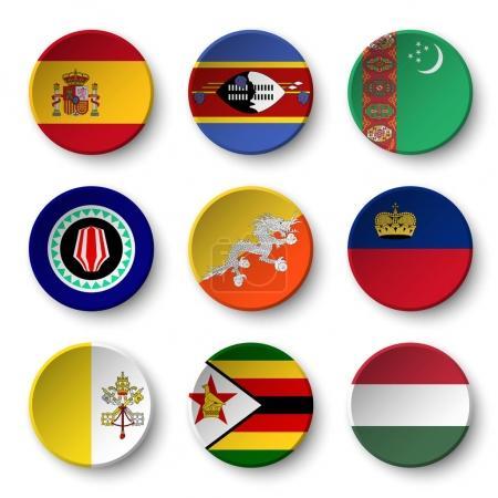 Set of world flags round badges ( Spain . Swaziland . Turkmenistan . Bougainville . Bhutan . Liechtenstein . Vatican city . Zimbabwe . Hungary )