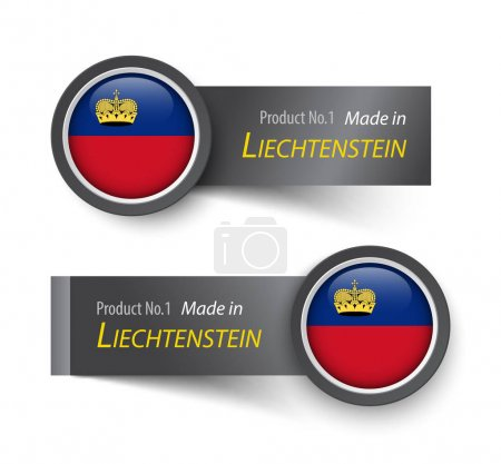 Flag icon and label with text made in Liechtenstein