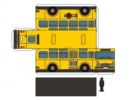 Illustration pour Modèle en papier d'un autobus scolaire jaune vintage - image libre de droit