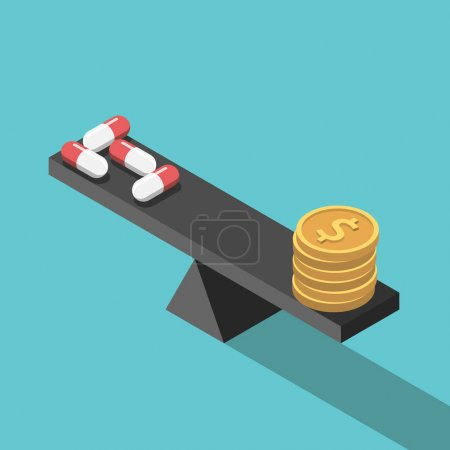Illustration for Isometric medical pills and dollar coins on weight scales on turquoise blue background. Medicine, money, price and health concept. Flat design. Vector illustration, no transparency, no gradients - Royalty Free Image