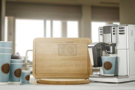 Photo pour Fond de table dans la cuisine avec espace pour votre dcoration . - image libre de droit