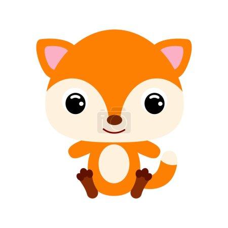 Cute little sitting fox. Forest animal. Cartoon ch...