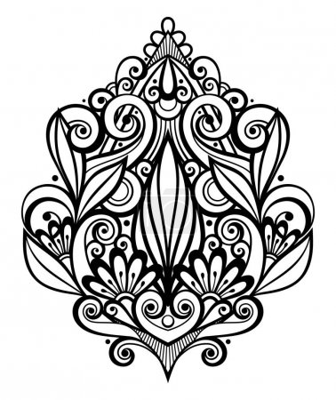 Vector Black Decorative Element in Doodle Style with Lot of Swir
