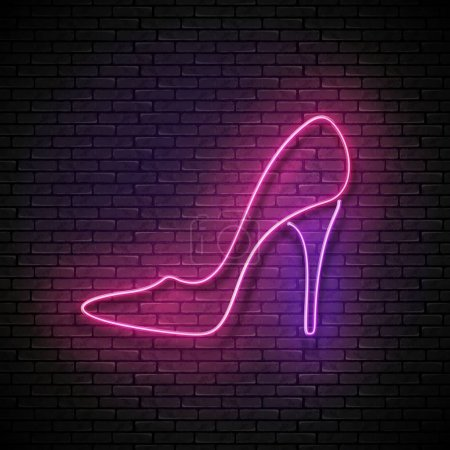 Vintage shiny neon pink high heel shoe signboard o...