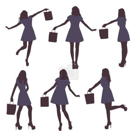 Illustration pour Jeu de silhouettes féminines noirs avec sac sur fond blanc, illustration vectorielle - image libre de droit