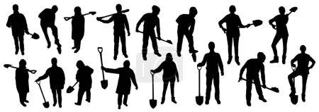 Illustration pour Personnes avec des silhouettes de pelles sur fond blanc - image libre de droit