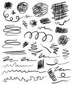 Hand drawn set of design elements vector illustration