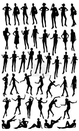 Illustration pour Posant les silhouettes femme illustration vectorielle - image libre de droit