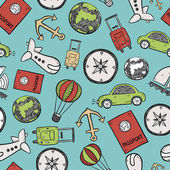 Travel doodles seamless background vector illustration