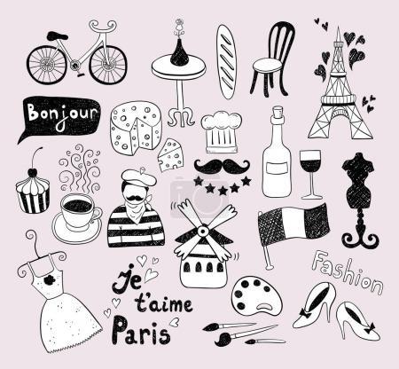 Paris doodles travel icons set