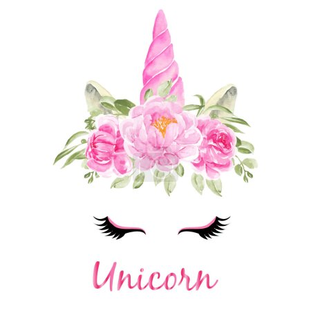 Illustration for Watercolor head of unicorn with floral wreath pink on white background - Royalty Free Image