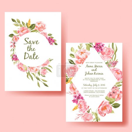 Illustration for Wedding invitation watercolor frame peach flower - Royalty Free Image