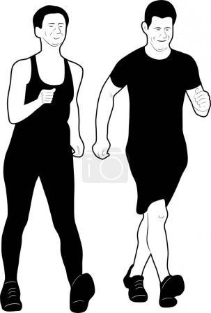 Ilustración de Dos hombres de deporte corriendo una carrera - Imagen libre de derechos
