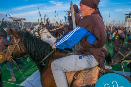 Photo for Kazakhstan, Taldykorgan - October 02, 2015: Nomad Games, international sport competition dedicated to ethnic sports practiced in Central Asia - Royalty Free Image