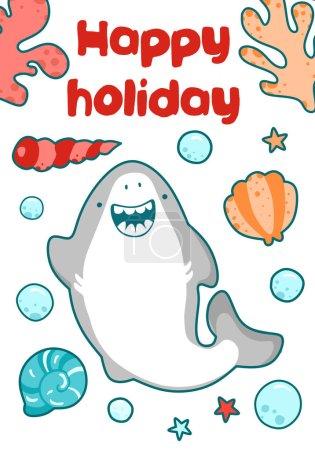 Photo pour Bébé douche animaux, y compris le requin, les poissons. Cartes mignonnes, cartes postales avec des personnages de pépinière pour les enfants - image libre de droit