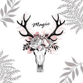 Beautiful vector horns with flowers Hand drawn boho chic style design elements with deer antler watercolor roses flowers isolated on white background Black line