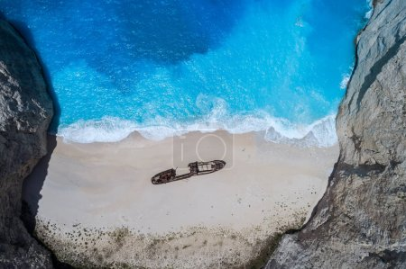 Luftaufnahme des navagio (Schiffswrack) Strandes auf der Insel Zakynthos, gr