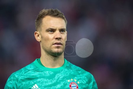 Photo for Piraeus, Greece - October 22, 2019: Goalkeeper of Bayern Manuel Neuer in action during the UEFA Champions League game between Olympiacos vs Bayern at Georgios Karaiskakis stadium - Royalty Free Image