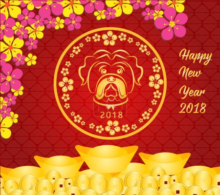Happy Chinese new year 2018 card is Gold coins money - year of dog.