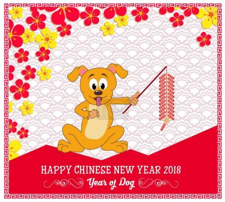 Happy  new year 2018 year of the dog. Chinese New Year . Lunar new year .