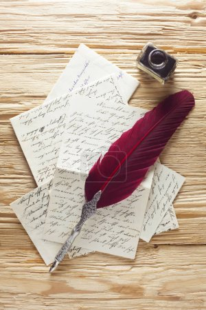Photo for Close-up shot of Handwritten Letters With Quill And Ink - Royalty Free Image