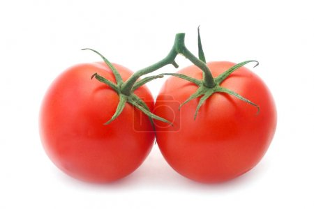 Photo for Close-up shot of Two Tomatoes Isolated On White - Royalty Free Image