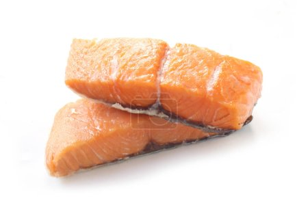 Photo for Smoked Stremel Salmon Isolated On White - Royalty Free Image