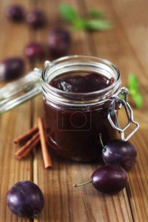 Photo for Close-up shot of jar of plum jam - Royalty Free Image