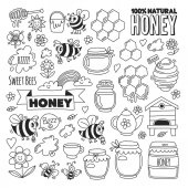 Honey market bazaar honey fair Doodle images of bees flowers jars honeycomb beehive spot the keg with lettering sweet honey natural honey sweet bees