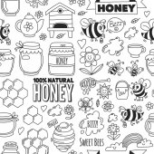 Seamless pattern Honey market bazaar honey fair Doodle images of bees flowers jars honeycomb beehive spot the keg with lettering sweet honey natural honey sweet bees