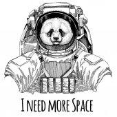 Постер Панда бамбуковый медведь астронавта