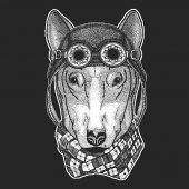 DOG for t-shirt design Hand drawn illustration for tattoo emblem badge logo patch Cool animal wearing aviator motorcycle biker helmet