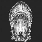 DOG for t-shirt design Cool animal wearing native american indian headdress with feathers Boho chic style Hand drawn image for tattoo emblem badge logo patch