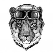 Animal wearing aviator helmet with glasses Vector picture Wild cat Leopard Cat-o-mountain Panther Hand drawn picture for tattoo emblem badge logo patch t-shirt