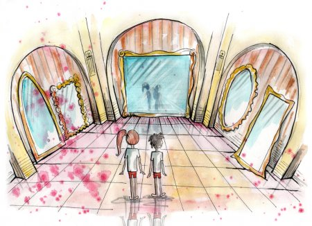 Photo pour Illustration aquarelle de deux enfants, debout dans une galerie des glaces. Intérieur du château de l'imaginaire. Illustration de dessinés à la main. Peinture aquarelle - image libre de droit