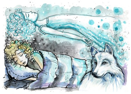 Astral projection. Watercolor illustration of girl in her bed with magical wolf beside
