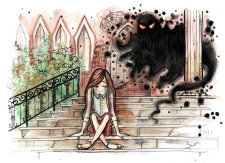 Photo pour Illustration aquarelle de petite fille assise sur les vieux escaliers lapidés avec esprit malin derrière elle. Vieux bâtiment gothique extérieur. Illustration de dessinés à la main. Peinture aquarelle - image libre de droit