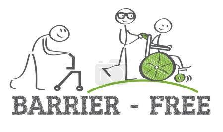 Illustration pour Accès facile - rampe d'accès pour les personnes handicapées en fauteuil roulant - image libre de droit