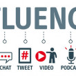 Influencers. Banner with icons and keywords...