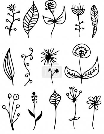 Set of hand drawn doodles. Flowers and plants